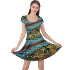 Fractal Snake Skin Cap Sleeve Dresses