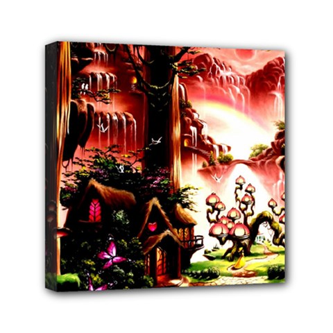 Fantasy Art Story Lodge Girl Rabbits Flowers Mini Canvas 6  X 6