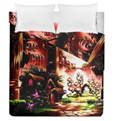 Fantasy Art Story Lodge Girl Rabbits Flowers Duvet Cover Double Side (queen Size)