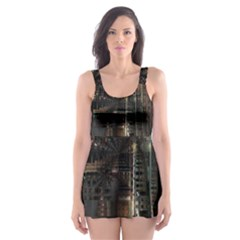 Blacktechnology Circuit Board Electronic Computer Skater Dress Swimsuit