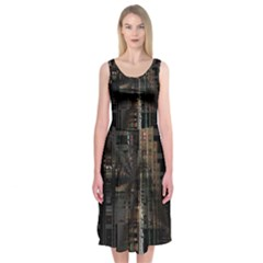 Blacktechnology Circuit Board Electronic Computer Midi Sleeveless Dress