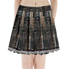 Blacktechnology Circuit Board Electronic Computer Pleated Mini Skirt