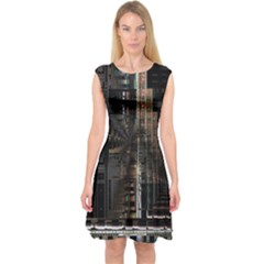 Blacktechnology Circuit Board Electronic Computer Capsleeve Midi Dress