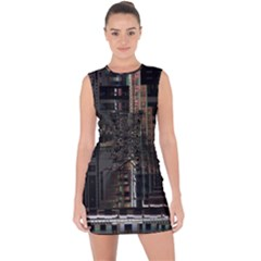 Blacktechnology Circuit Board Electronic Computer Lace Up Front Bodycon Dress