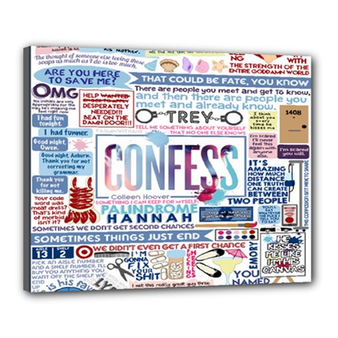Book Collage Based On Confess Canvas 20  X 16