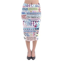 Book Collage Based On Confess Midi Pencil Skirt