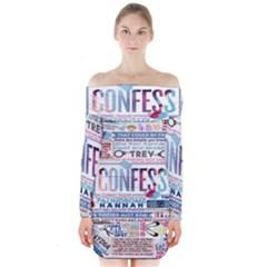 Book Collage Based On Confess Long Sleeve Off Shoulder Dress