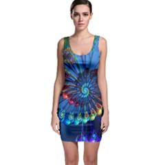 Top Peacock Feathers Bodycon Dress