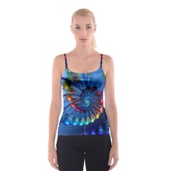 Top Peacock Feathers Spaghetti Strap Top