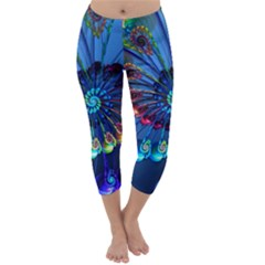 Top Peacock Feathers Capri Winter Leggings