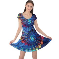 Top Peacock Feathers Cap Sleeve Dresses
