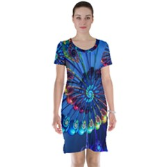 Top Peacock Feathers Short Sleeve Nightdress