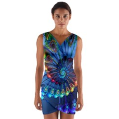 Top Peacock Feathers Wrap Front Bodycon Dress
