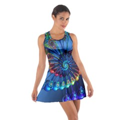 Top Peacock Feathers Cotton Racerback Dress