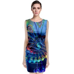 Top Peacock Feathers Classic Sleeveless Midi Dress