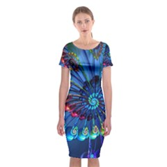 Top Peacock Feathers Classic Short Sleeve Midi Dress