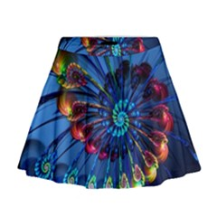 Top Peacock Feathers Mini Flare Skirt