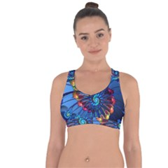 Top Peacock Feathers Cross String Back Sports Bra