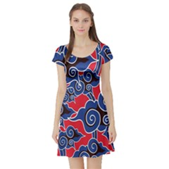 Batik Background Vector Short Sleeve Skater Dress