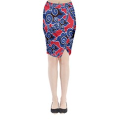 Batik Background Vector Midi Wrap Pencil Skirt
