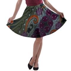 Batik Art Pattern  A Line Skater Skirt