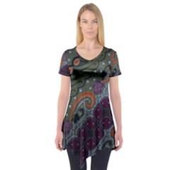 Batik Art Pattern  Short Sleeve Tunic