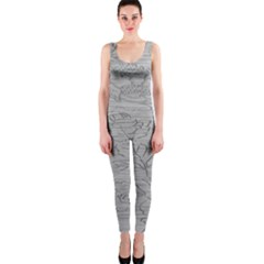 Embossed Rose Pattern Onepiece Catsuit