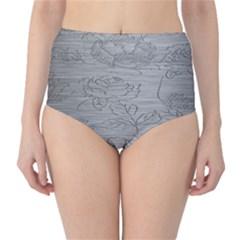 Embossed Rose Pattern High Waist Bikini Bottoms