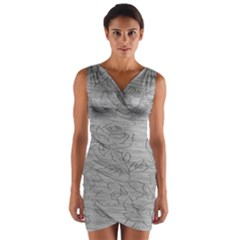 Embossed Rose Pattern Wrap Front Bodycon Dress