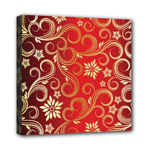 Golden Swirls Floral Pattern Mini Canvas 8  X 8