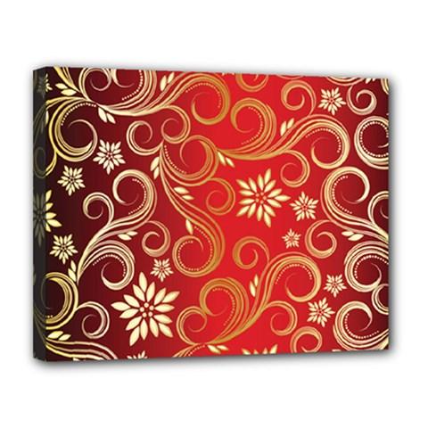 Golden Swirls Floral Pattern Canvas 14  X 11
