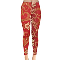 Golden Swirls Floral Pattern Leggings