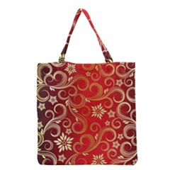 Golden Swirls Floral Pattern Grocery Tote Bag