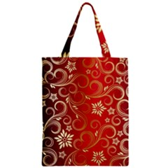 Golden Swirls Floral Pattern Zipper Classic Tote Bag