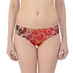 Golden Swirls Floral Pattern Hipster Bikini Bottoms