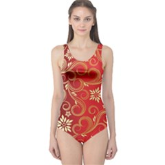Golden Swirls Floral Pattern One Piece Swimsuit