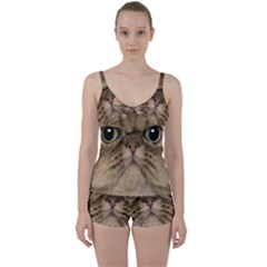 Cute Persian Catface In Closeup Tie Front Two Piece Tankini