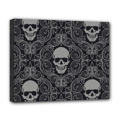 Dark Horror Skulls Pattern Deluxe Canvas 20  X 16