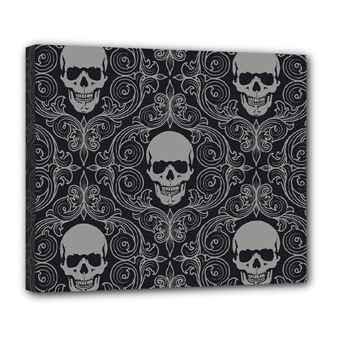 Dark Horror Skulls Pattern Deluxe Canvas 24  X 20