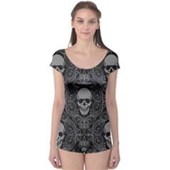 Dark Horror Skulls Pattern Boyleg Leotard