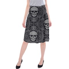 Dark Horror Skulls Pattern Midi Beach Skirt