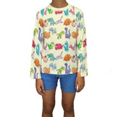 Group Of Funny Dinosaurs Graphic Kids  Long Sleeve Swimwear