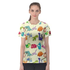 Group Of Funny Dinosaurs Graphic Women s Sport Mesh Tee