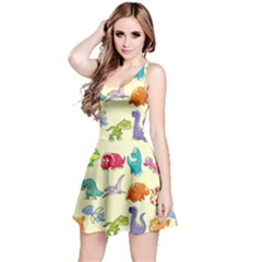 Group Of Funny Dinosaurs Graphic Reversible Sleeveless Dress