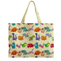Group Of Funny Dinosaurs Graphic Zipper Mini Tote Bag
