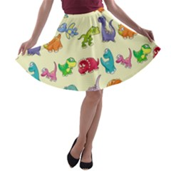 Group Of Funny Dinosaurs Graphic A Line Skater Skirt