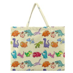 Group Of Funny Dinosaurs Graphic Zipper Large Tote Bag