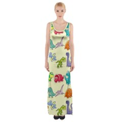 Group Of Funny Dinosaurs Graphic Maxi Thigh Split Dress