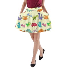 Group Of Funny Dinosaurs Graphic A Line Pocket Skirt