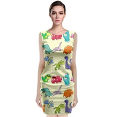 Group Of Funny Dinosaurs Graphic Classic Sleeveless Midi Dress